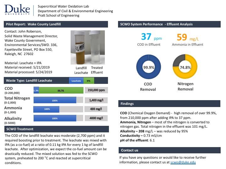 Landfill Leachate & IPA Treatment Report